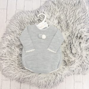 Baby Boys Grey Pom Pom Romper Suit