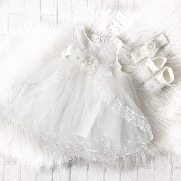Baby Girls Ivory Christening Dress Set