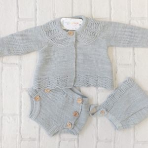 Unisex Grey Knitted Baby Pram Set