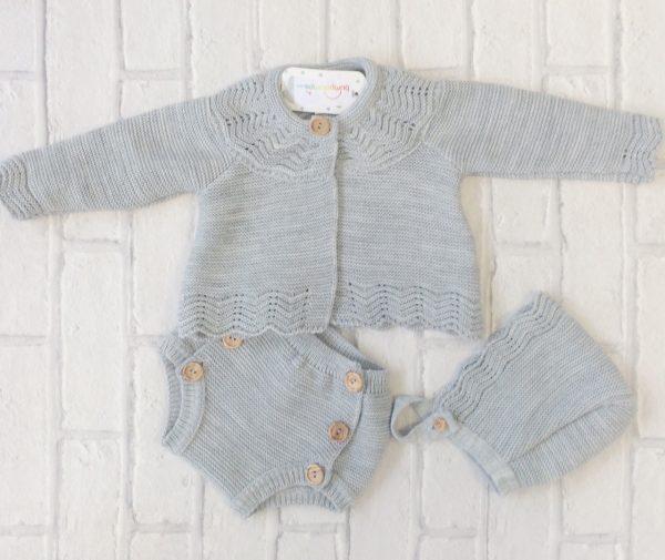 Unisex Grey Knitted Baby Pram Set