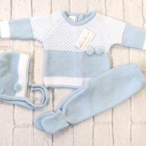 Baby Boys Blue Three Piece Pram Set