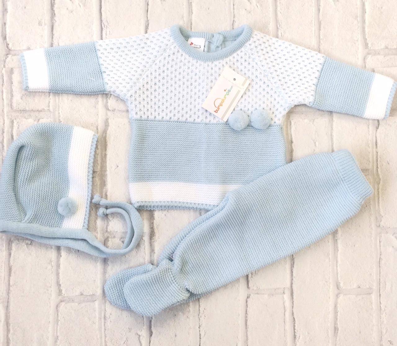 dbff6139f627 Baby Boys Blue Three Piece Pram Set