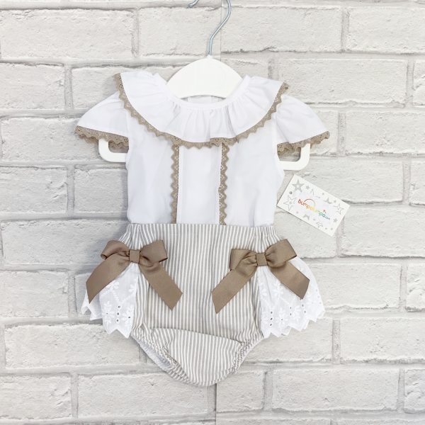Baby Girls White & Beige Outfit