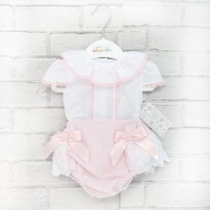 Baby Girls White Blouse & Pink Shorts