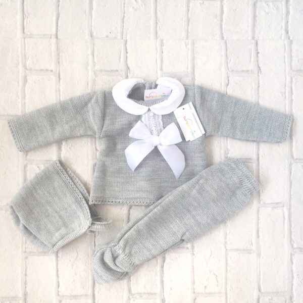 Grey Knitted Three Piece Set
