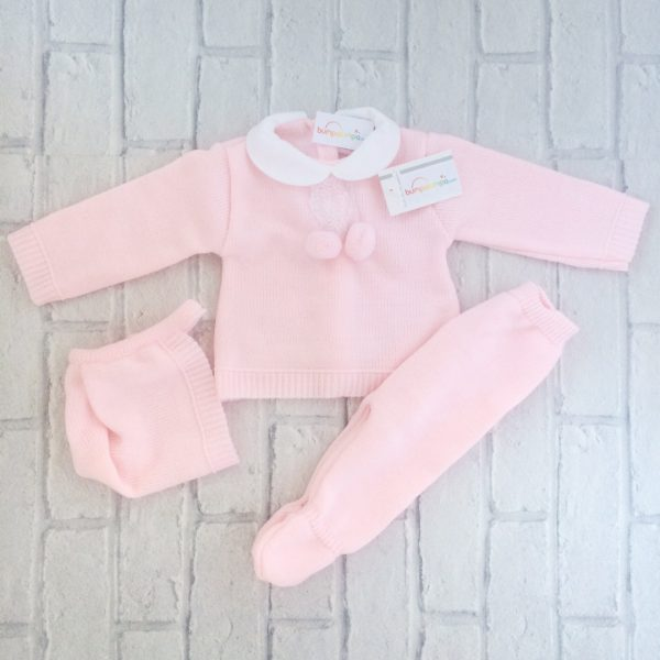 Baby Girls Pink Three Piece Set Pram Suit
