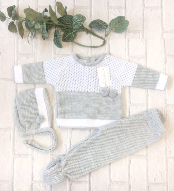 Unisex Grey & White Baby Three Piece Set