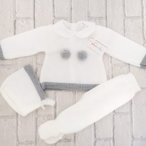 White & Grey Newborn Baby Outfit