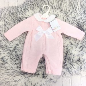 Baby Girls Pink Cable Knit Romper Suit