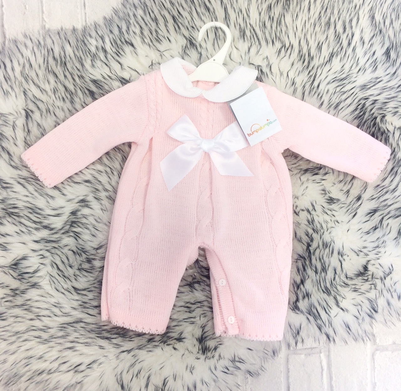 418100151f30 Baby Girls Pink Cable Knit Romper Suit