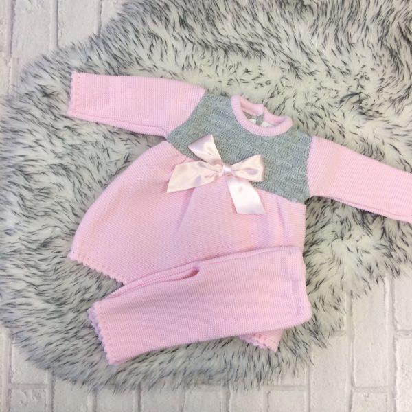 Baby Girls Pink Knitted Dress & Leggings Set