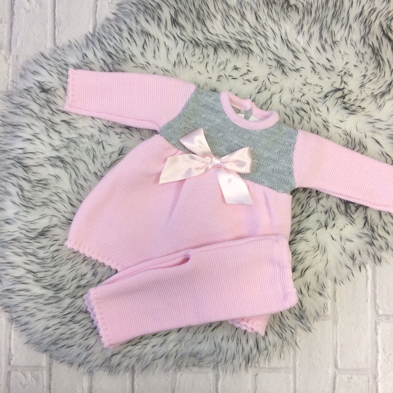 a30d1a790435 Baby Girls Pink Knitted Dress   Leggings Set