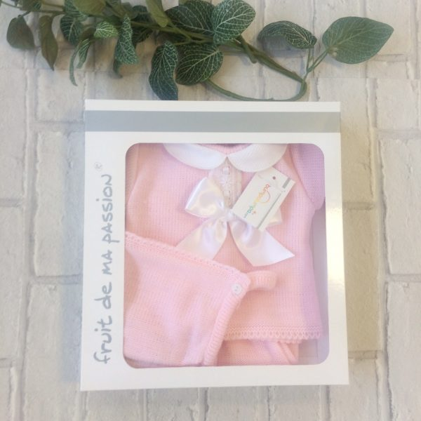 Newborn Baby Girls Pink Three Piece Set