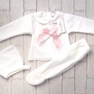 Newborn Baby Girls White Pram Set with Pink Bow
