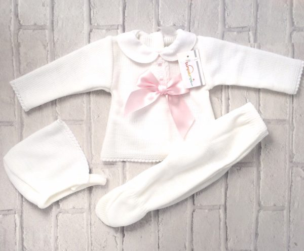 Newborn Baby Girls White Pram Set with Pink Bow