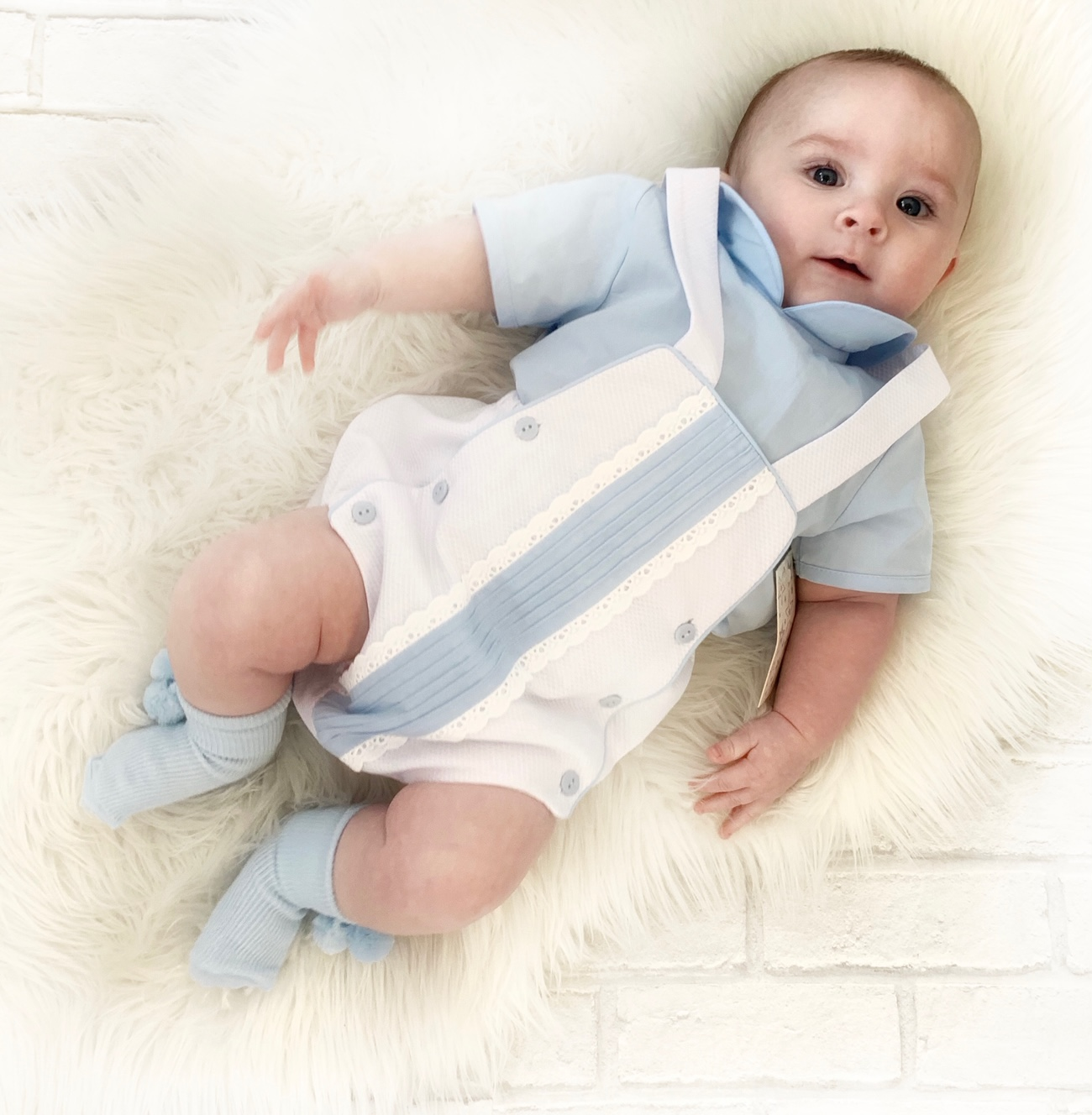 Baby Boys Blue Shirt & White & Blue Dungaree Set