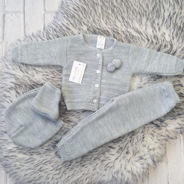 Unisex Grey Four Piece Baby Outfit