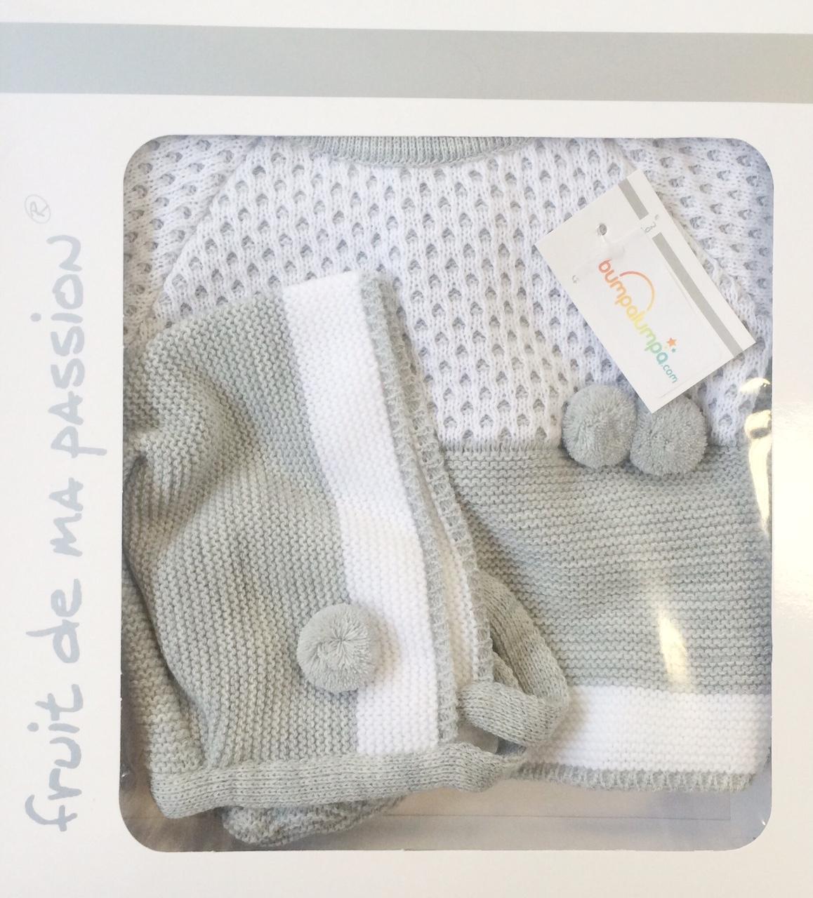 Unisex Grey & White Baby Three Piece Set