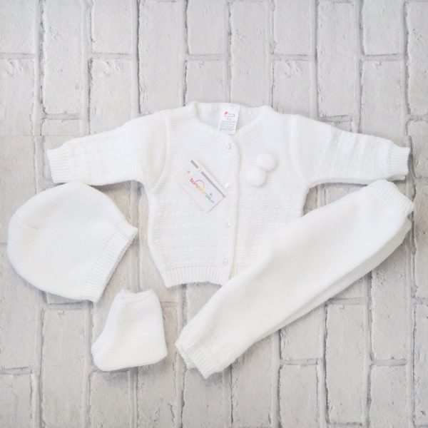White Unisex Newborn Four Piece Pram Set