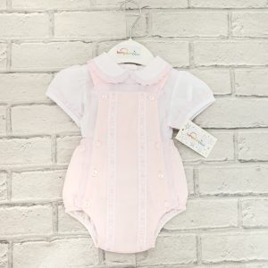 Baby Girls Pink Dungaree Shorts & White Blouse Set