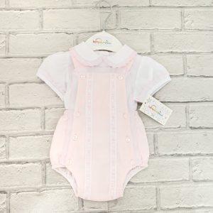 4ad10261ab1a Baby Girls Pink Dungaree Shorts   White Blouse Set