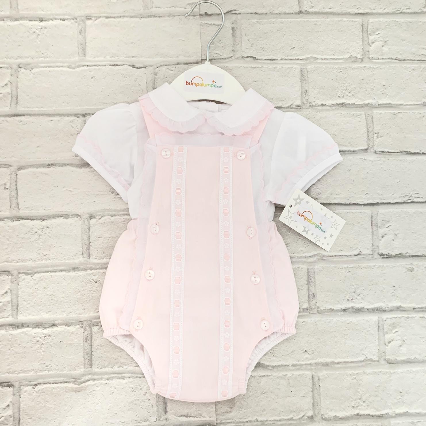 6301e8569f92 Baby Girls Pink Dungaree Shorts   White Blouse Set