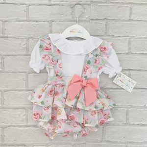 Baby Girls Pink Floral Dungaree Set
