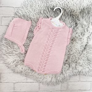 Baby Girls Dusty Pink Romper Suit & Bonnet