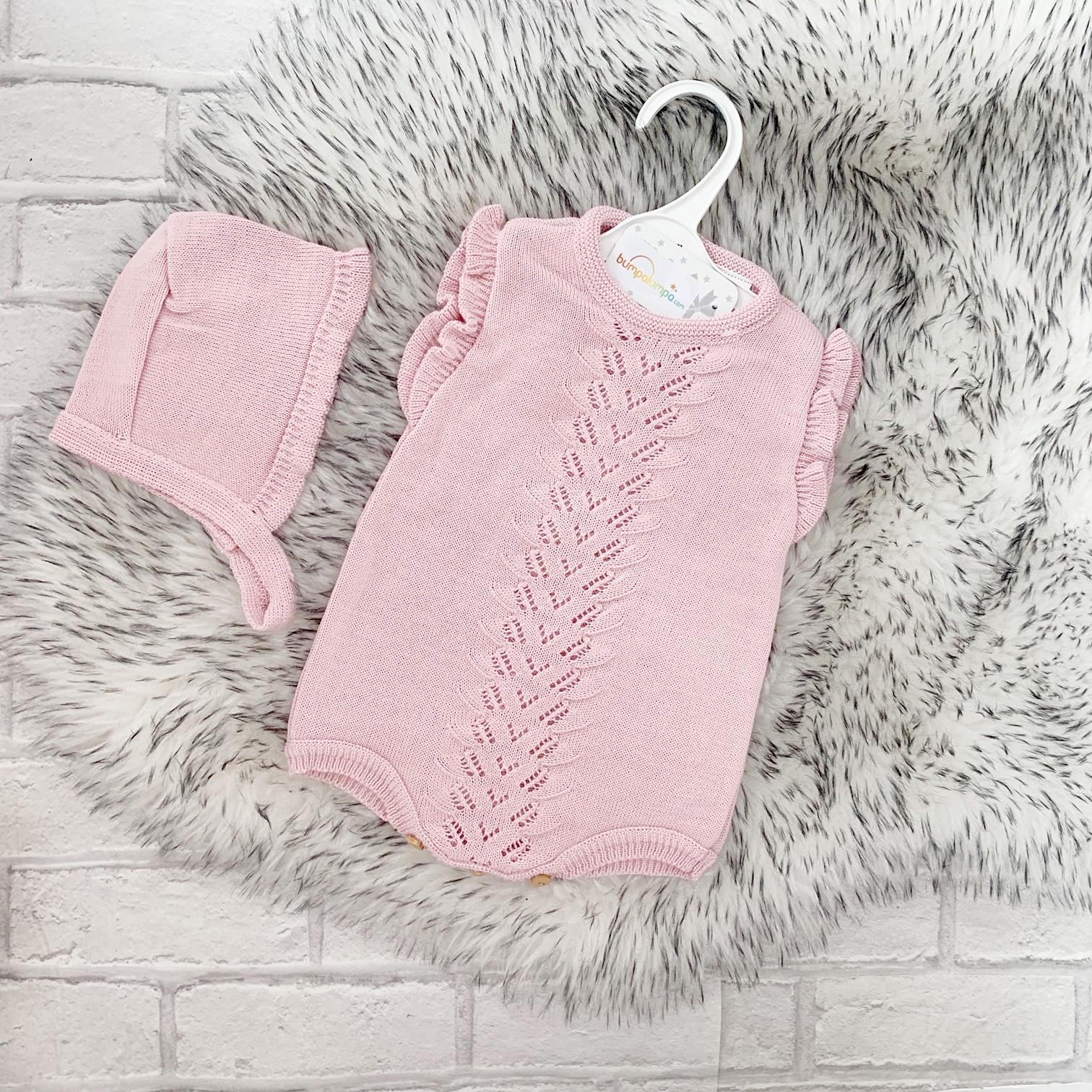fb9d2003 Baby Girls Dusty Pink Romper Suit & Bonnet