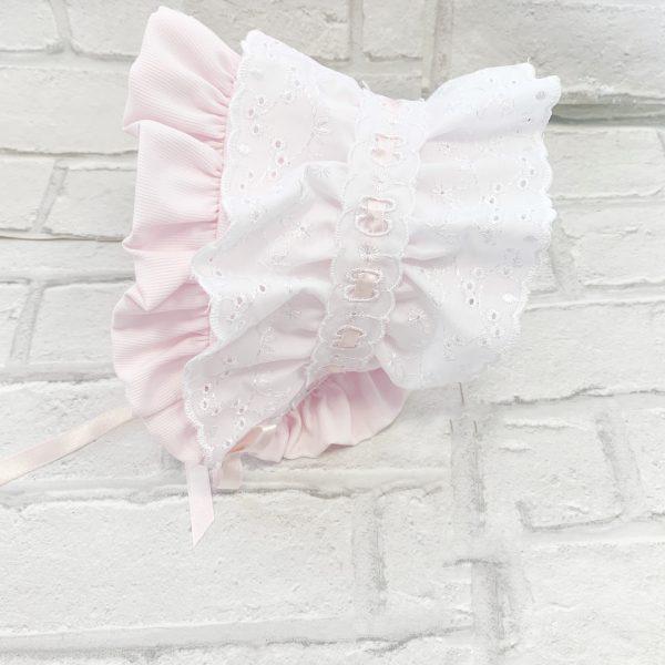 Baby Girls White & Pink Bonnet