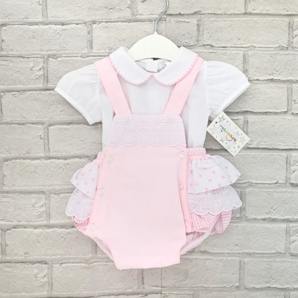 Pink Baby Girls Dungaree Set