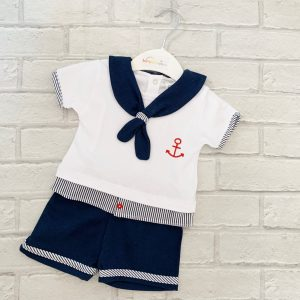 Blue & White Baby Boys Shorts Sailor Suit