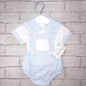 Blue & White Stripe Baby Boys Dungaree Set