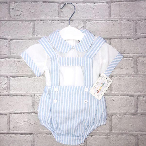 Blue & White Stripe Baby Boys Dungaree Set