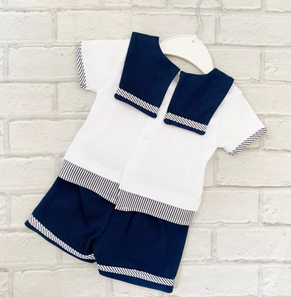 Blue & White Baby Boys Shorts Sailor Suit