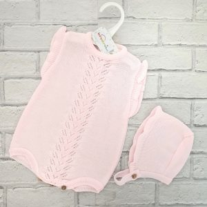 Baby Girls Pink Romper & Bonnet Set