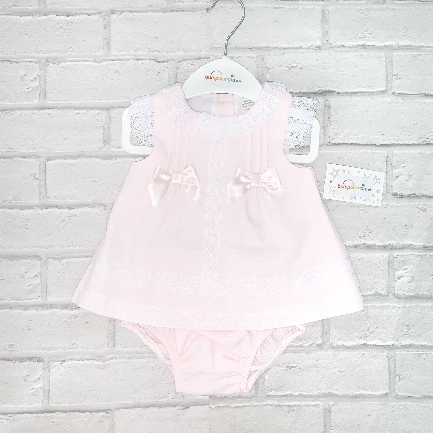 Baby Girls Pink Sleeveless Dress & Knickers