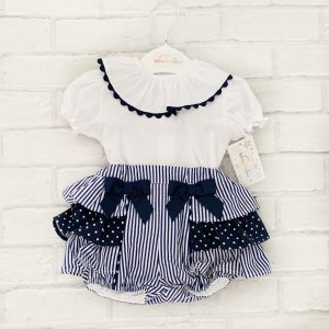 Baby Girls White & Blue Outfit