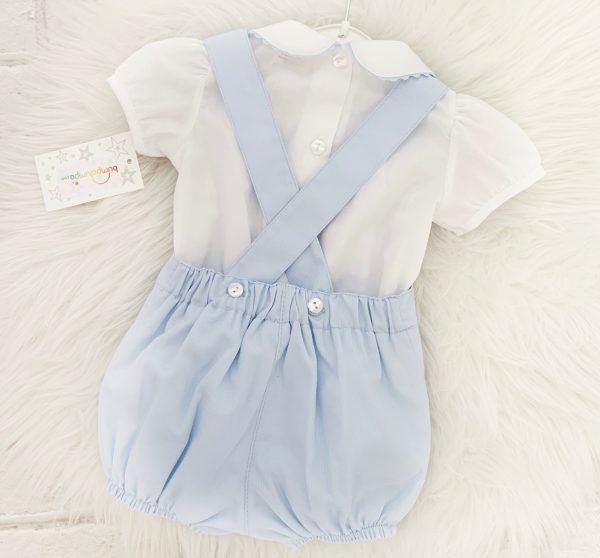 Baby Boys Blue Dungaree Shorts Set