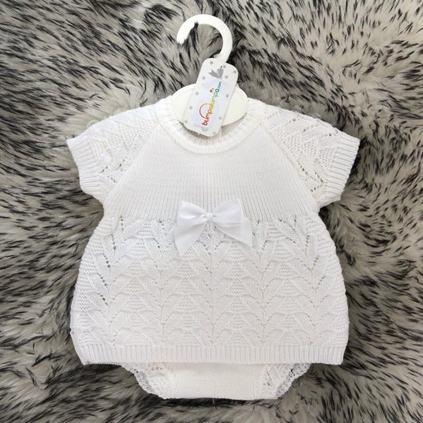 White Knitted Baby Girls Dress