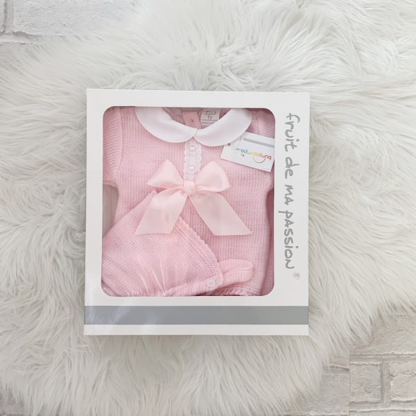 Baby Girls Pink Pram Set with Bow