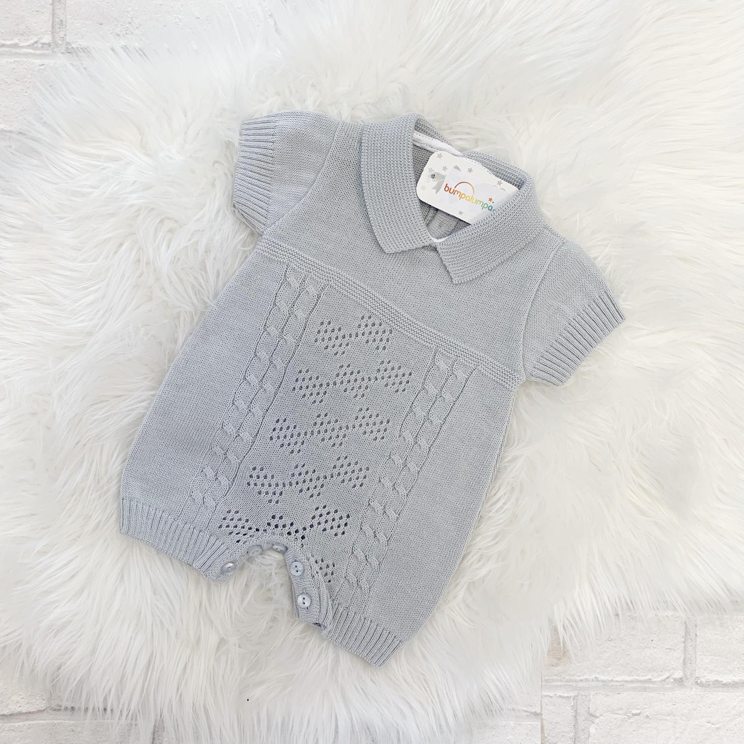 f31de9467 Grey Baby Romper Suit   Baby Boys Onesie   Bumpalumpa.com