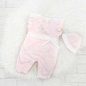 Pink Baby Girls Romper & Hat Set