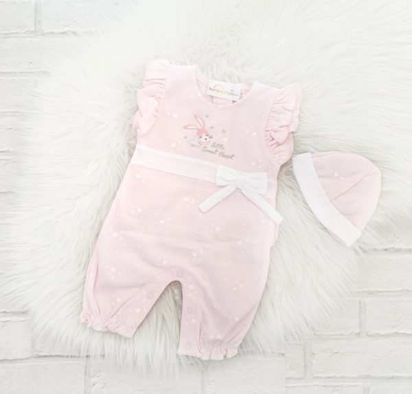 Pink Baby Girls Romper & Hat Set
