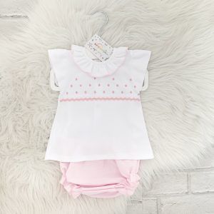 Baby Girls White Top & Shorts Set