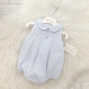 Blue Stripe Baby Romper Suit