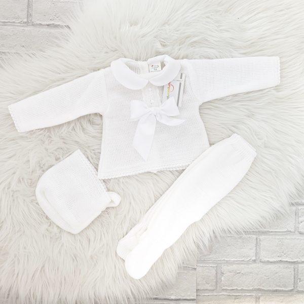 Unisex White Pram Set with Bow