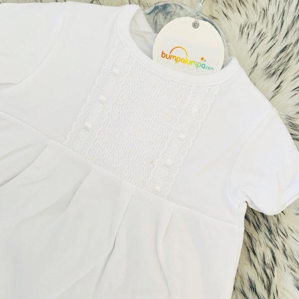 Unisex White Baby Romper