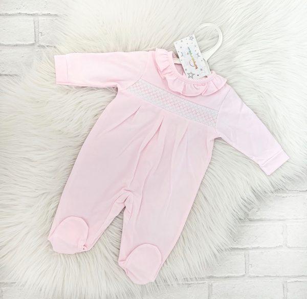Pink Smocked Babygrow