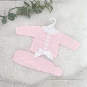 Baby Girls Pink And White Pram Set